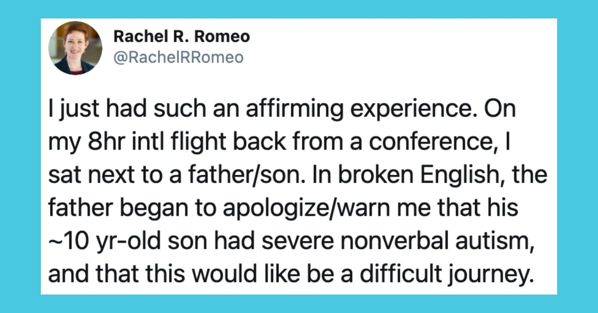 A Speech-Language Pathologist Shares the Moving Experience She Had on a Plane with a Father and Son