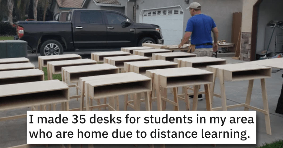 Woodworker Makes Desks for Local Kids Who Are Learning From Home