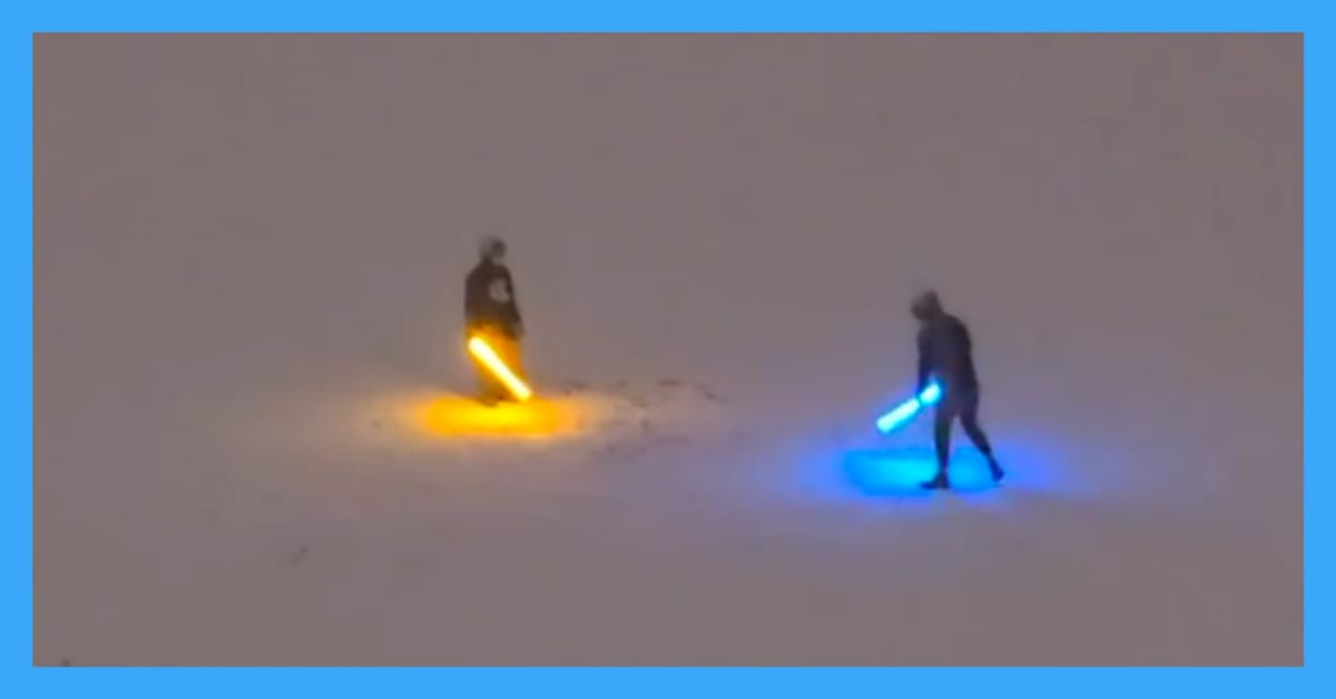 Awesome Deuling Lightsabers Go Viral in the Rocky Mountain Snow